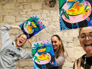 girls on a night out enjoying their painting event