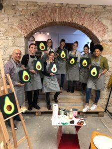group photo after a painting event