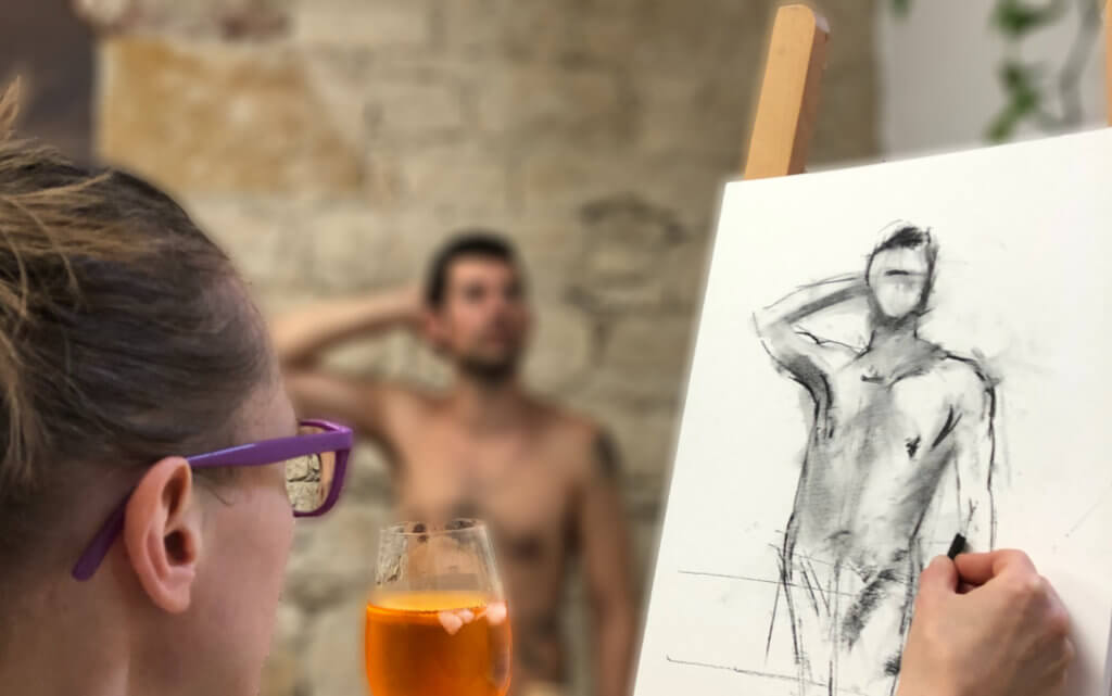 Painting nude model in basel