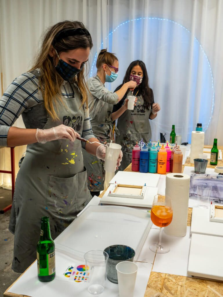 poauring acrylics painting workshop in basel