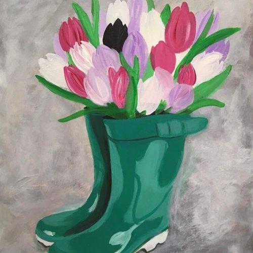 'Rainboots & Tulips'