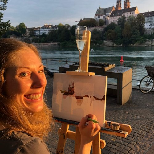Painting in Basel outdoors