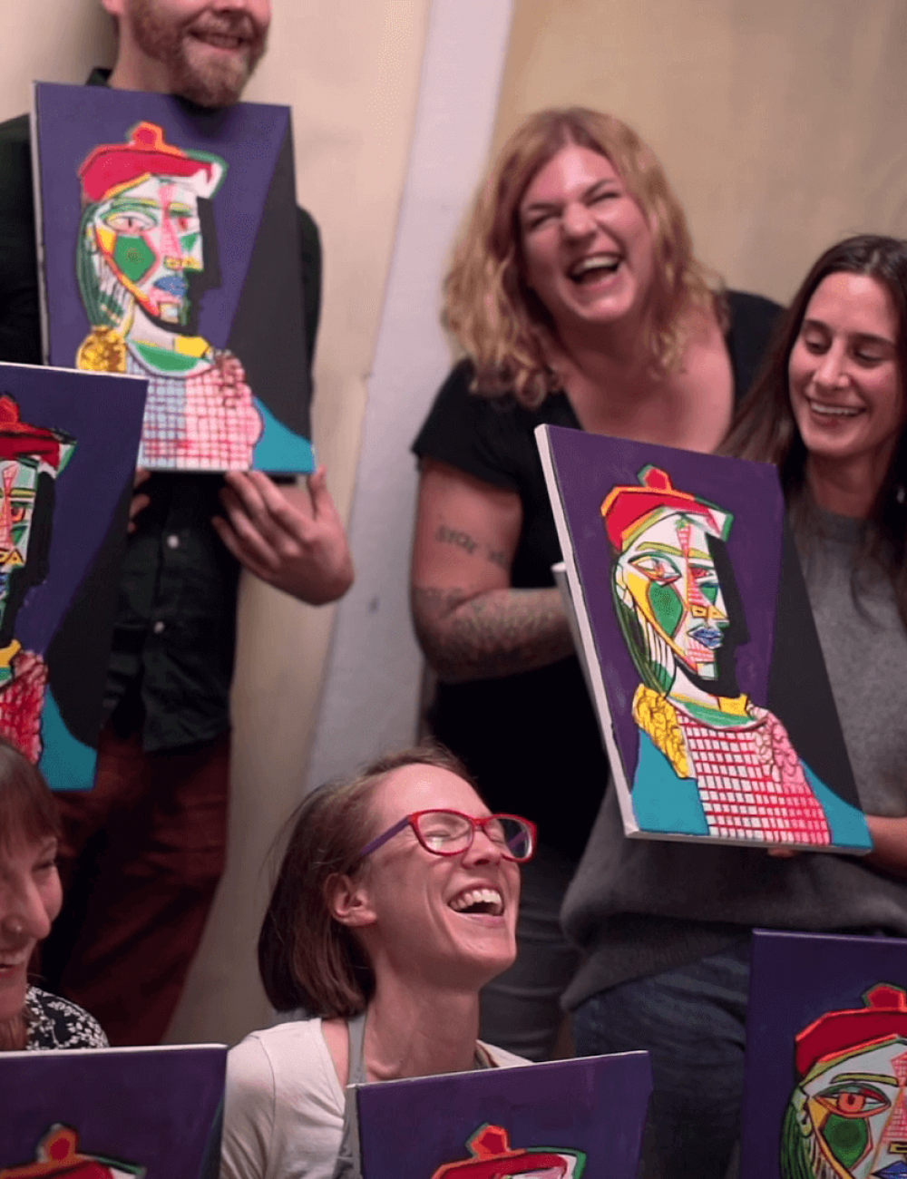painting and meeting new faces at Paint and sip events